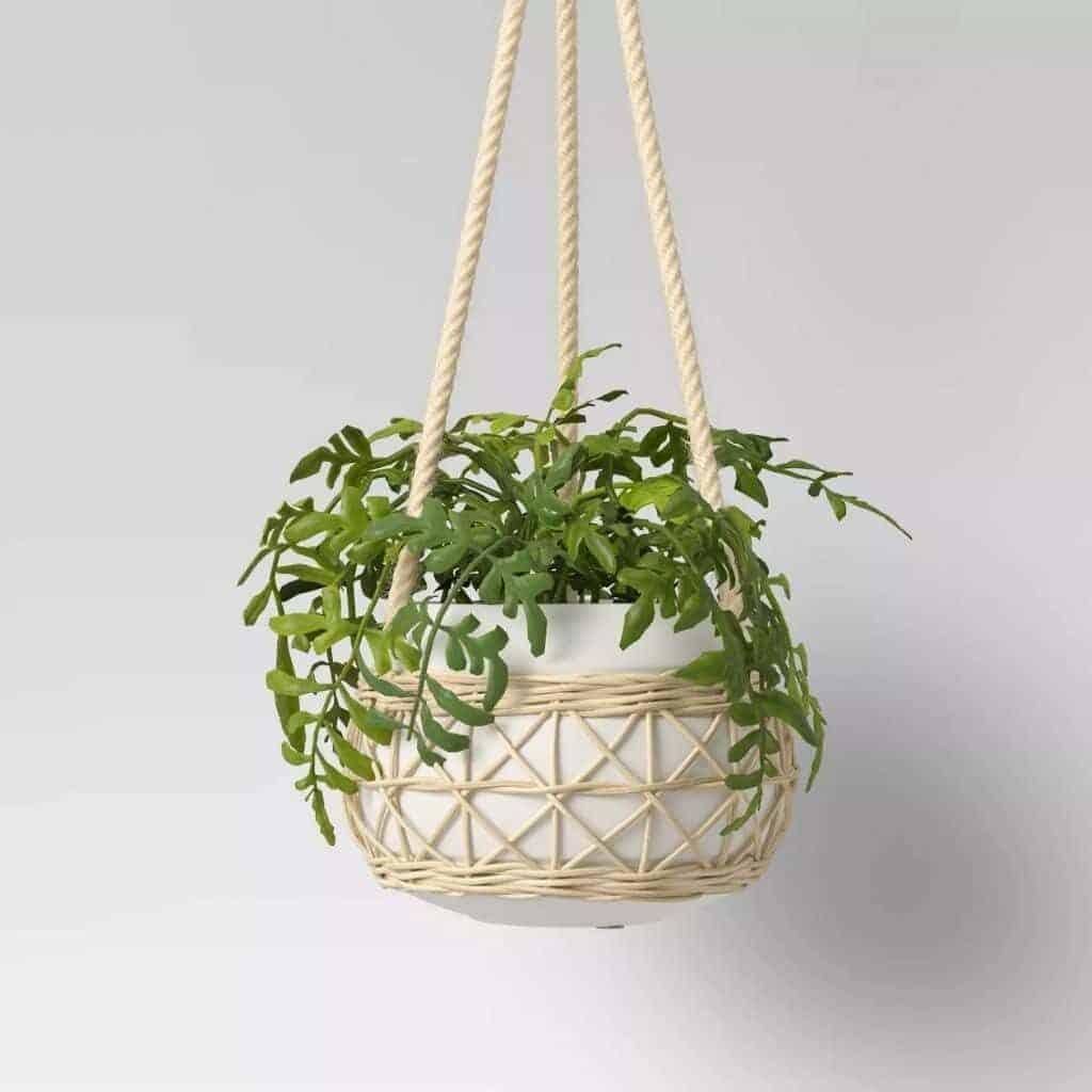 Rattan and ceramic hanging planter.