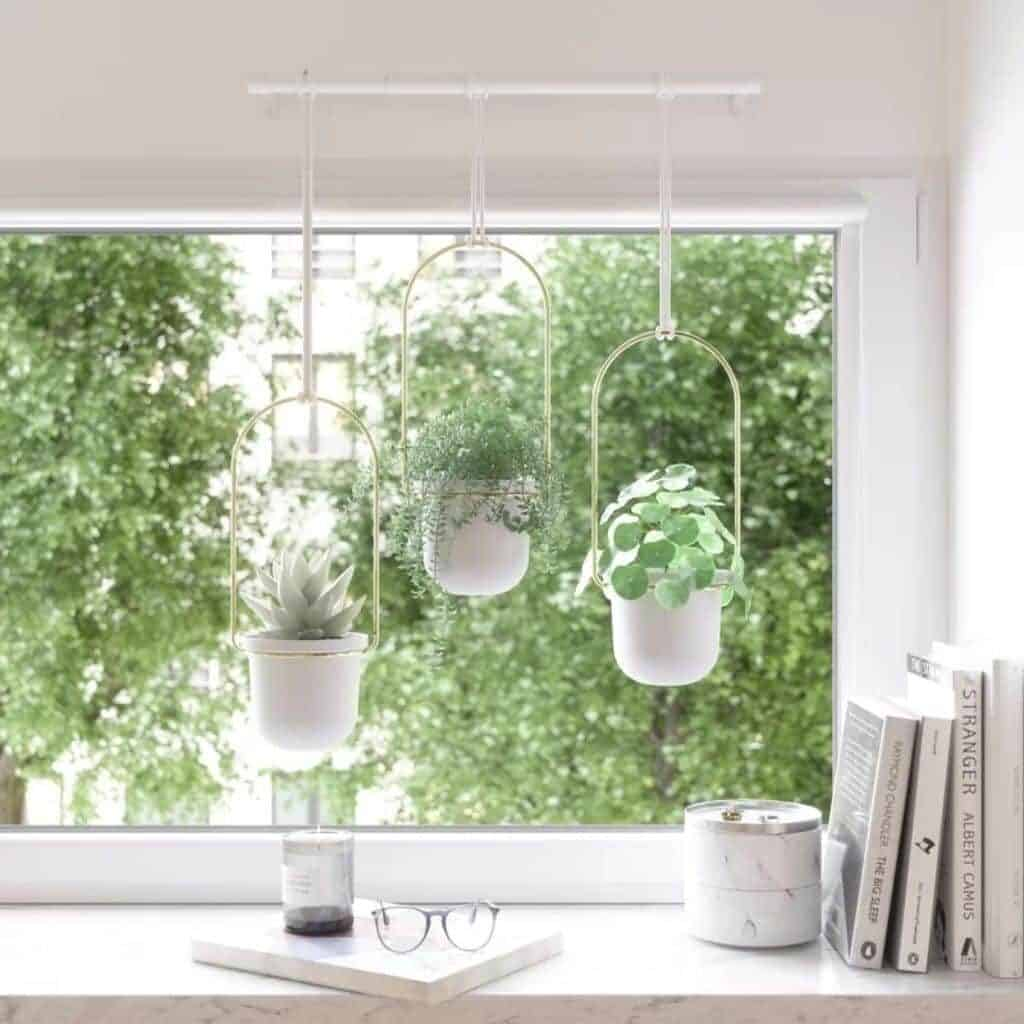 Three hanging planters attached to a rod in front of a window.